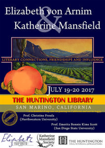 "The poster for the July 2017 ""Elizabeth von Arnim and Katherine Mansfield: Literary Connections Friendships, and Influences"" conference was inspired by a California orange crate label."